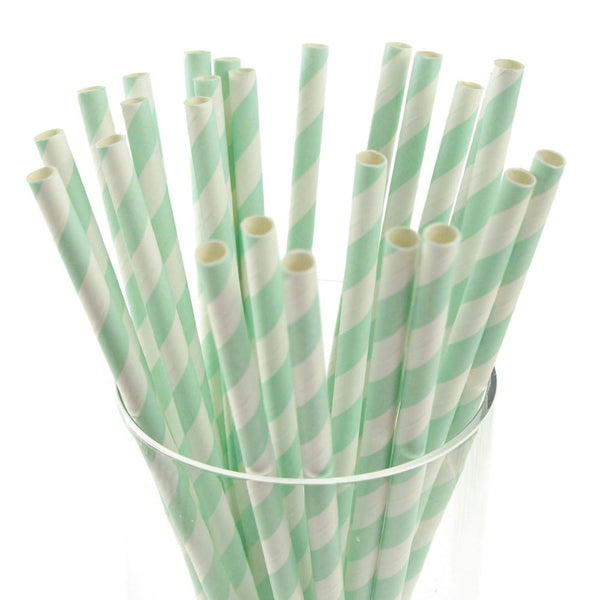 12-Pack, Candy Striped Paper Straws, 7-3/4-inch, 25-Piece, Light Blue/White