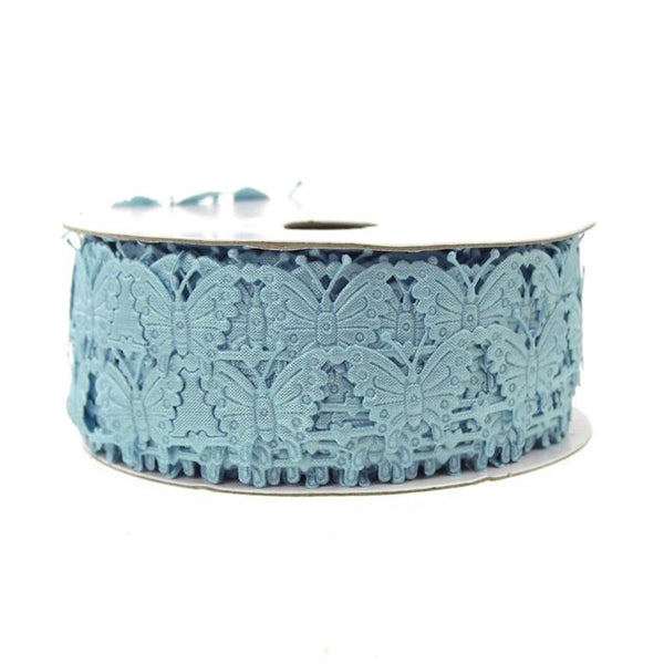 12-Pack, Butterfly Polyester Garland Ribbon, 1/2-inch, 10-yard, Light Blue