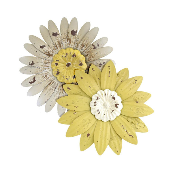 12-Pack, Rustic Metal Flowers with Magnets, 2-Piece
