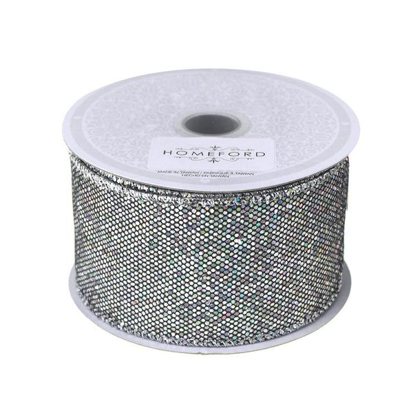 Metallic Disco Bling Christmas Ribbon, 2-Inch, 10 Yards. Silver