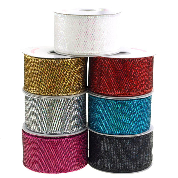 12-Pack, Metallic Disco Bling Christmas Ribbon, 2-Inch, 10 Yards