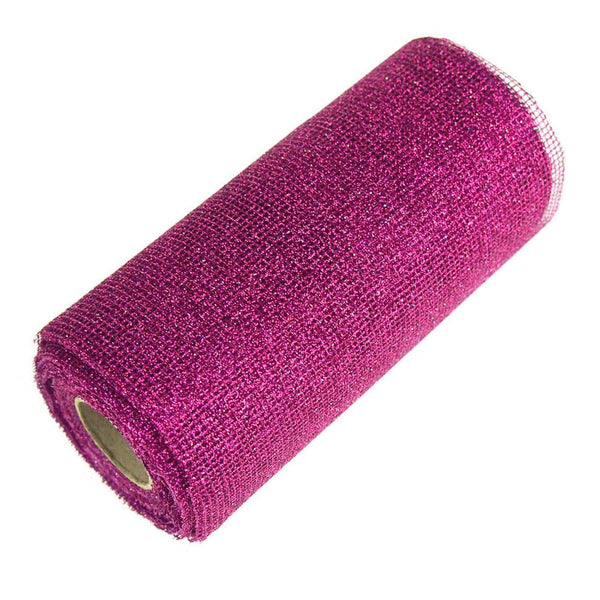 12-Pack, Glitter Mesh Net Roll, 6-Inch, 10 Yards, Hot Pink