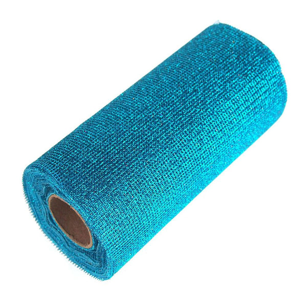 12-Pack, Glitter Mesh Net Roll, 6-Inch, 10 Yards, Turquoise