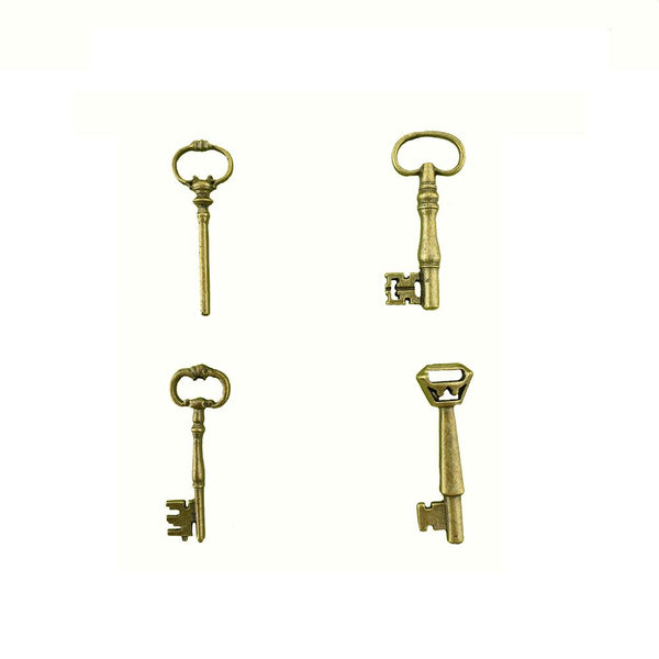 Alloy Vintage Key Pendants, 4-Piece