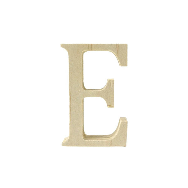 Pine Standing Wood Letter E, 2-Inch, 3-Count