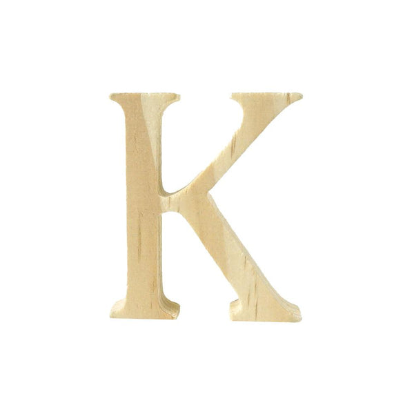 Pine Standing Wood Letter K, 2-Inch, 3-Count