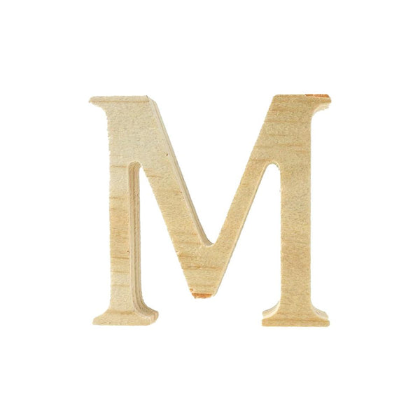 Pine Standing Wood Letter M, 2-Inch, 3-Count