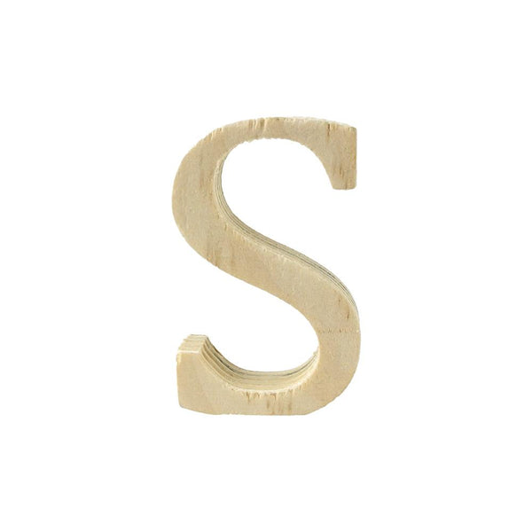 Pine Standing Wood Letter S, 2-Inch, 3-Count