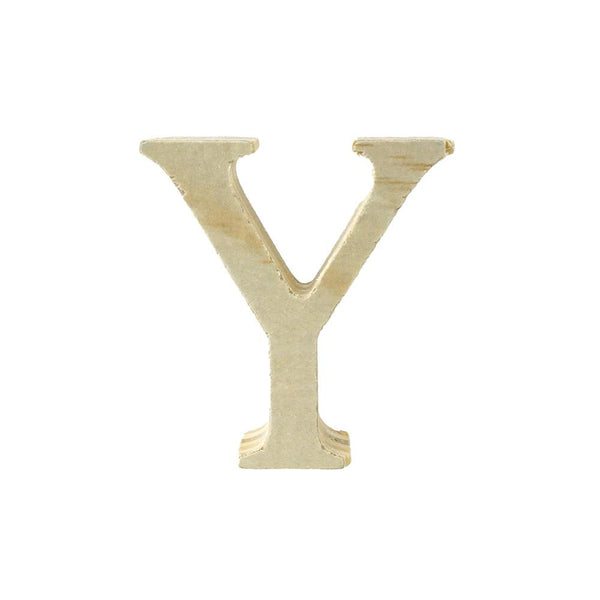 Pine Standing Wood Letter Y, 2-Inch, 3-Count