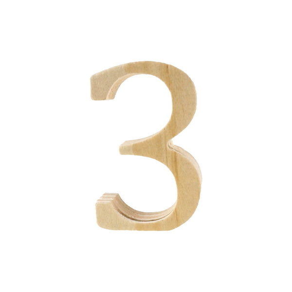 Pine Standing Wood Number 3, 2-Inch, 3-Count