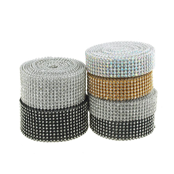 12-Pack, Rhinestone Ribbon Craft Trim, 2 Yards