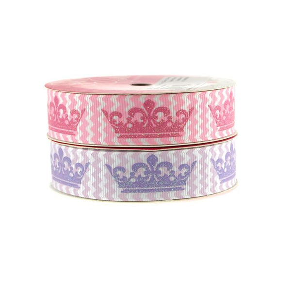 12-Pack, Princess Crown Chevron Grosgrain Ribbon, 7/8-inch, 3-yard