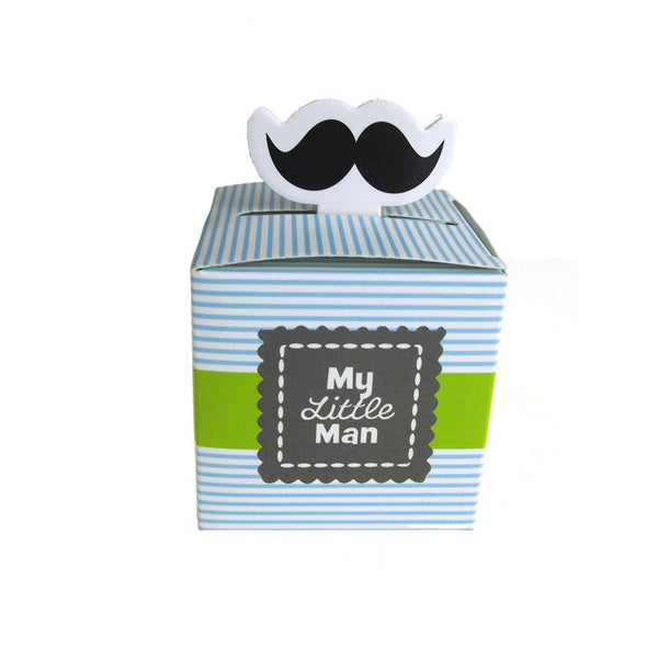 12-Pack, Mustache Baby Shower Favor Boxes, 2-1/4-Inch, 12-Piece
