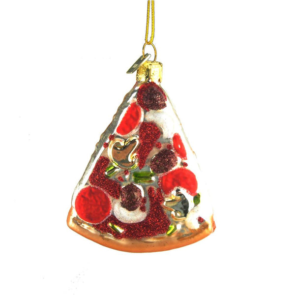 12-Pack, Pizza Slice Glass Ornament, 3-1/2-Inch