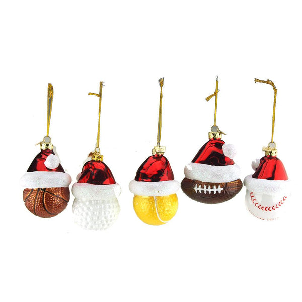 12-Pack, Sports Ball with Santa Hat Glass Christmas Tree Ornaments, 3-1/2-Inch, 5-Piece
