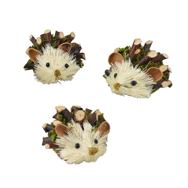 Twig and Moss Buri Hedgehog Decorations, 2-Inch, 3-Piece