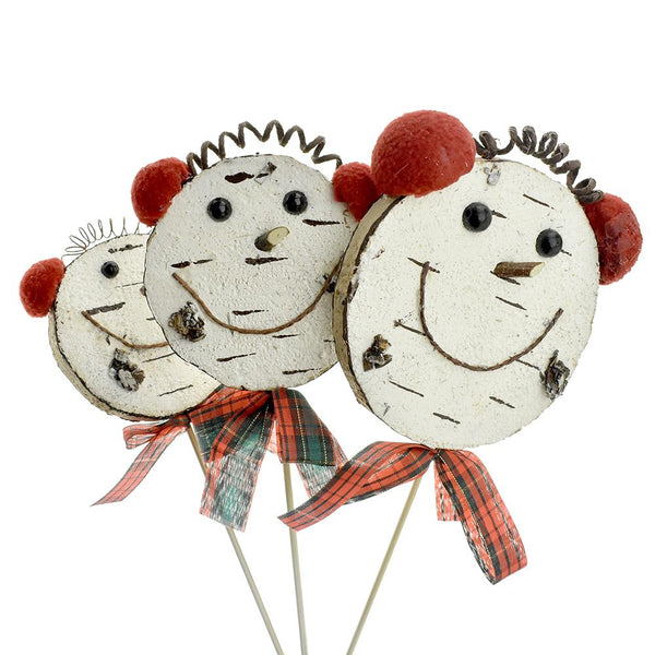 12-Pack, Winter Happy Snowman Picks, Assorted Sizes, 3-Piece
