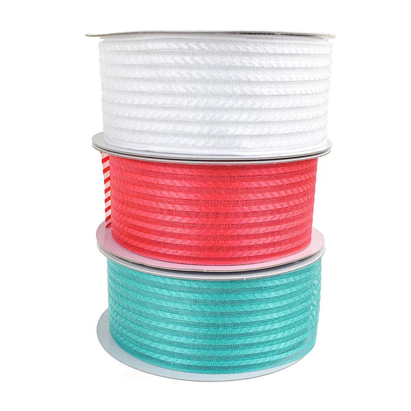 12-Pack, Woven Chic Striped Organza Ribbon, 1-1/2-Inch, 10-Yard