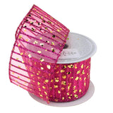 12-Pack, Glitter Stripes Confetti Christmas Ribbon, 2-1/2-Inch, 10 Yards, Fuchsia/Gold