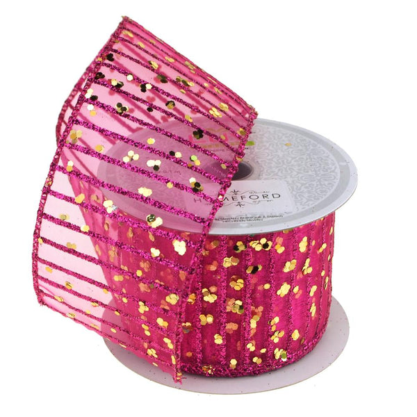 Glitter Stripes Confetti Christmas Ribbon, 2-1/2-Inch, 10 Yards, Fuchsia/Gold