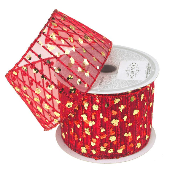 Glitter Stripes Confetti Christmas Ribbon, 2-1/2-Inch, 10 Yards, Red/Gold