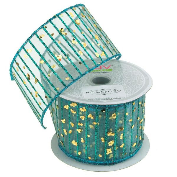 Glitter Stripes Confetti Christmas Ribbon, 2-1/2-Inch, 10 Yards, Turquoise/Gold