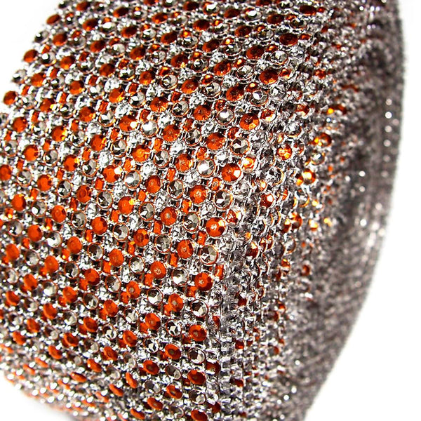 12-Pack, Two Tone Rhinestone Diamond Mesh Wrap Ribbon, 2-1/2-inch, 10-yard, Orange