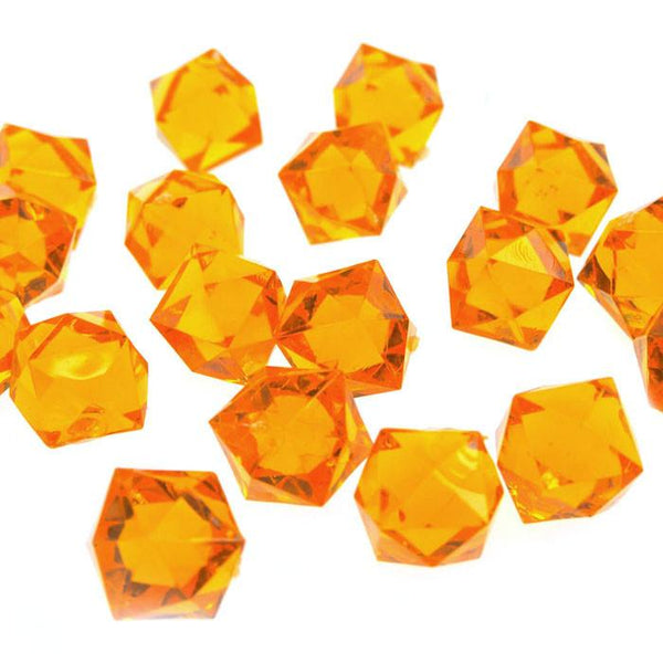 12-Pack, Acrylic Ice Rocks Twelve Point Star, 3/4-inch, 150-piece, Orange