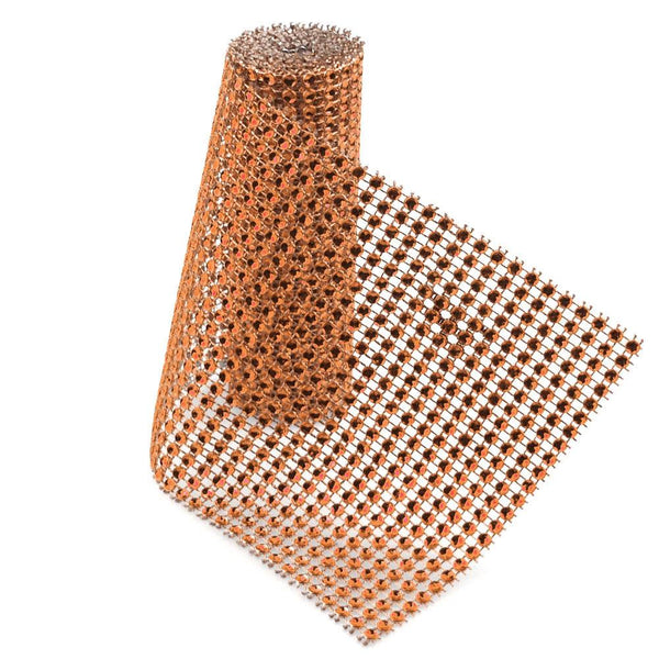 12-Pack, Rhinestone Mesh Wrap Roll, 4-3/4-Inch, 1 Yard, Orange