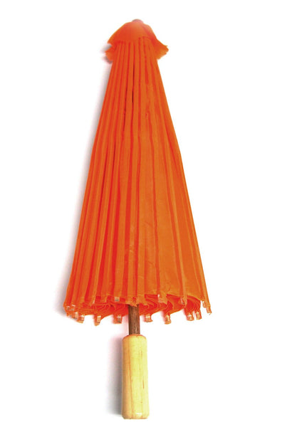 12-Pack, Paper Craft Umbrella with Bamboo Handle, 18-inch, Orange