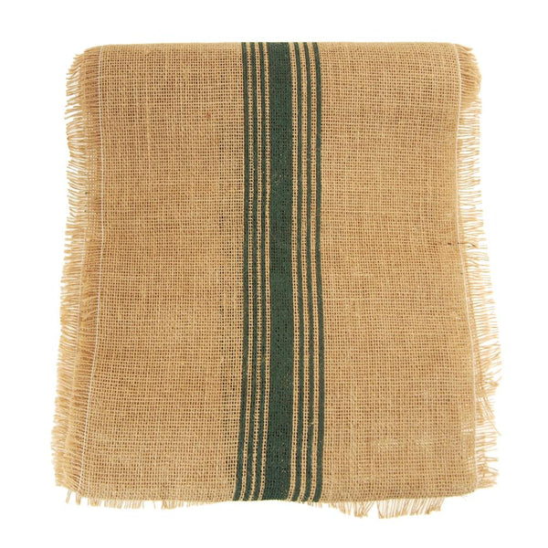 Natural Burlap Table Runner with Green Striped, 12-1/2-Inch, 9-Feet