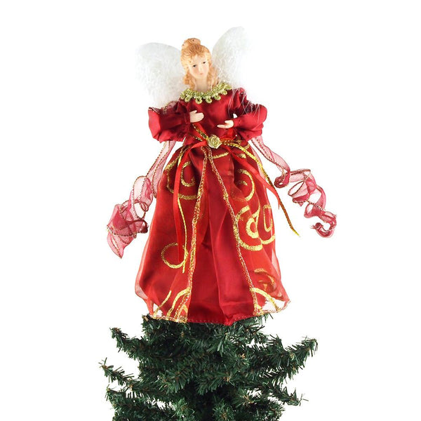 Angel Satin Christmas Tree Topper, Red, 9-Inch