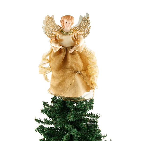 Angel Organza Christmas Tree Topper, Gold, 9-Inch