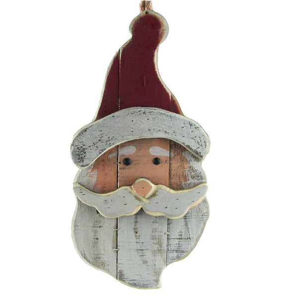 Distressed Santa Head Wooden Hanging Decor, 17-Inch