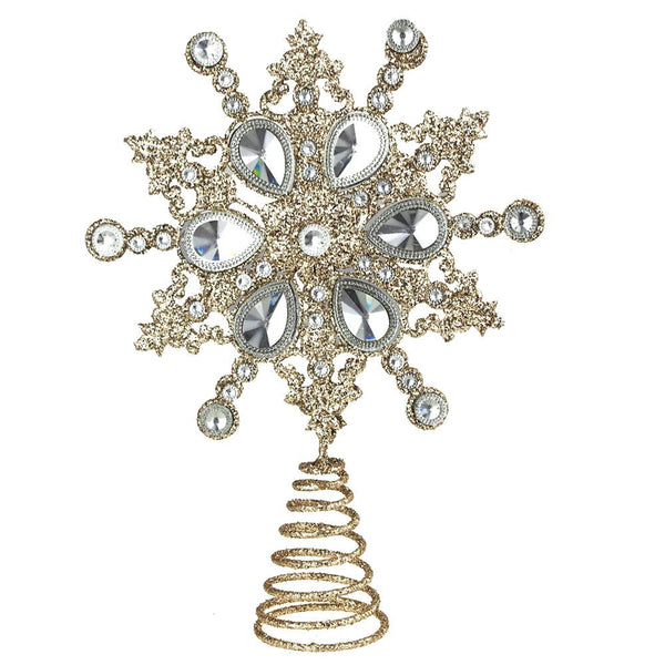 Glitter Diamond Star Christmas Tree Topper, Champagne, 11-Inch