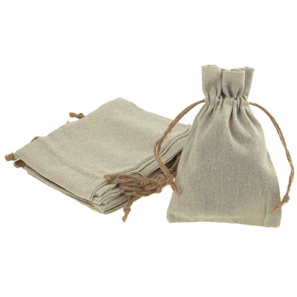 Natural Linen Favor Bags with Jute Drawstring, 12-Piece