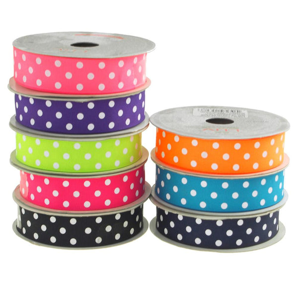 12-Pack, Polka Dot Grosgrain Ribbon, 7/8-Inch, 10-Yard