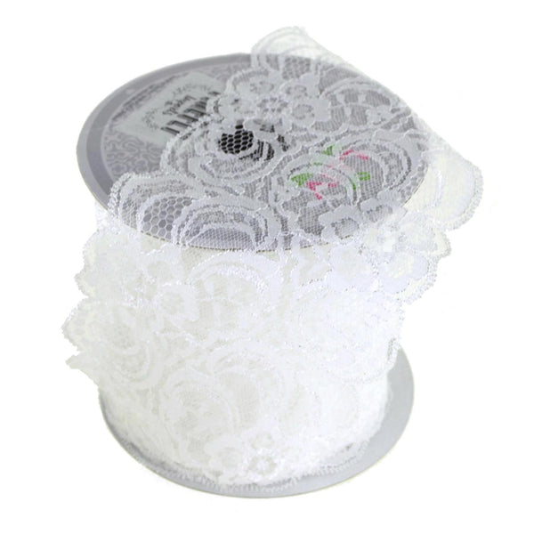 Floral Scalloped Lace Trim Ribbon, White, 3-1/2-Inch, 10 Yards