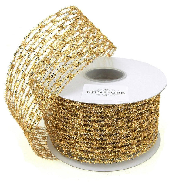 Mesh Net Glitter Ribbon Wired Edge, 2-1/2-Inch, 10 Yards, Gold
