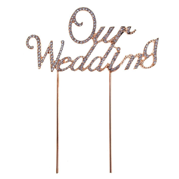 "12-Pack, ""Our Wedding"" Cursive Metal Crystal Cake Topper, 5-3/4-Inch x 2-1/4-Inch, Gold"