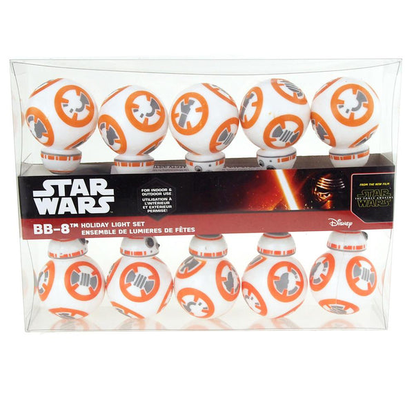 BB8 Star Wars Plastic Ornament String Light Set, 10 LED, Warm Yellow