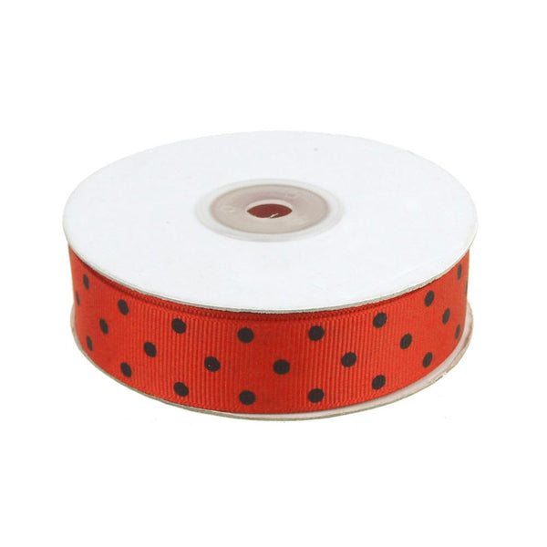 Lady Bug Grosgrain Ribbon, Red, 7/8-Inch, 25 Yards