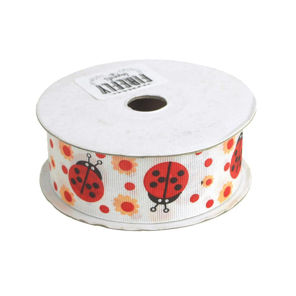 Lady Bug White Grosgrain Ribbon, 1-1/2-Inch, 25 Yards