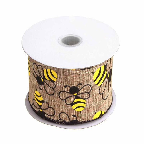 Bumblebees Natural Linen Ribbon Wired Edge, 2-1/2-Inch, 10 Yards