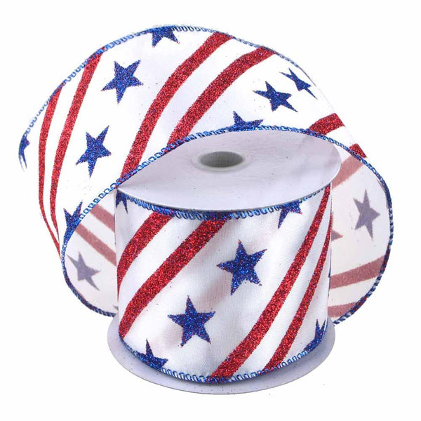 Glitter Stars Striped White Satin Ribbon, 2-1/2-Inch, 10 Yards