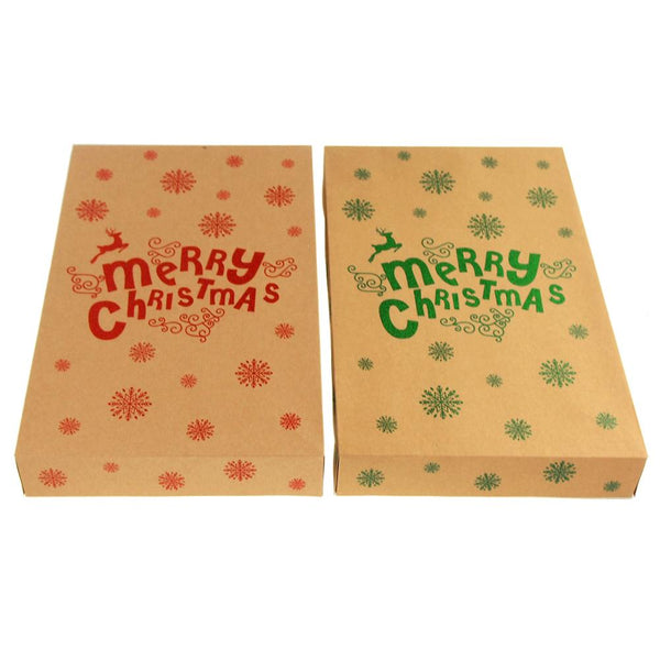 Glittered Merry Christmas Kraft Fold Box, Natural, 14-Inch, 2-Piece