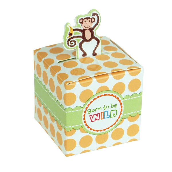 12-Pack, Monkey Safari Animal Baby Shower Favor Boxes, 2-Inch, 12-Piece