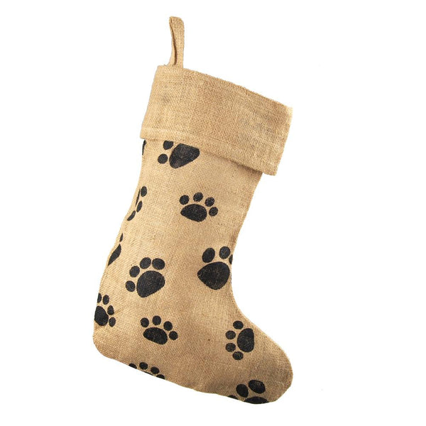 12-Pack, Animal Paw Print Burlap Christmas Stocking, Natural, 17-Inch