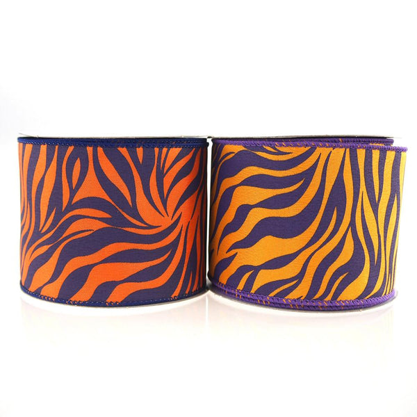 12-Pack, Tiger Print Polyester Wired Ribbon, 2-1/2-inch, 10-yard
