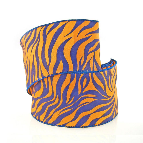 12-Pack, Tiger Print Polyester Wired Ribbon, 2-1/2-inch, 10-yard, Royal Blue/Orange